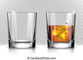 vidrio de echar por tierra, whisky, y, hielo, en,...