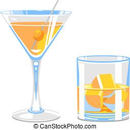 vidrio, de, martini, y, whisky