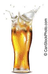 vidrio, de, salpicar, cerveza