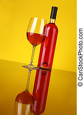 vidrio, de, vino rosado