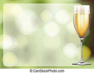 vidrio, diseño, marco, champaña