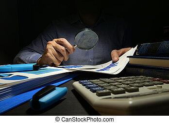 vidrio., empresa / negocio, interno, cheques, aumentar, analysis., auditoría, informe, financiero, auditor