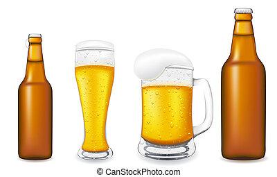 vidrio, enfermo, vector, botella de cerveza