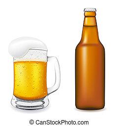 vidrio, enfermo,  vector, cerveza, botella