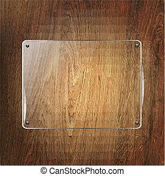 vidrio, estante, en, madera, plano de fondo
