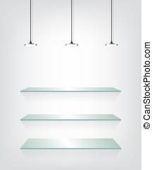 vidrio, estantes, luz del punto