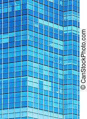 vidrio, fachada, de, moderno, edificio de oficinas