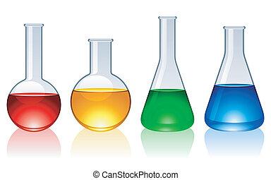 vidrio, flasks.