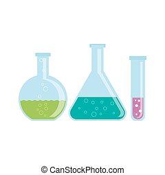 vidrio, frascos, con, químicos