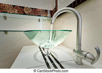 vidrio, fregadero, tazón, en, moderno, minimalism, cuarto de...