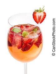 vidrio, fresas, bebida, menta, vino
