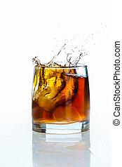 vidrio, hielo, whisky, plano de fondo, blanco, escocés