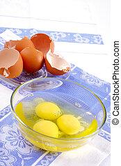 vidrio, huevo roto, taza