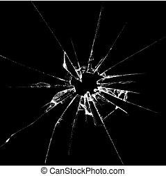 vidrio, ilustración, realista, roto