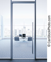 vidrio, jefe, puerta, oficina