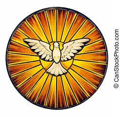 vidrio, manchado, espíritu, santo