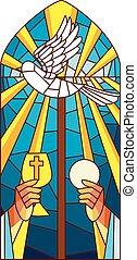 vidrio, manchado, masa, santo