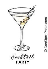 vidrio, mano, dibujado, aceitunas, martini, cóctel