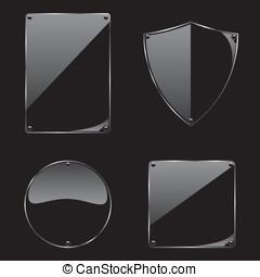 vidrio, marco, en, fondo negro