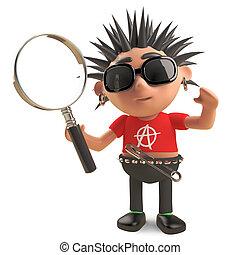 vidrio, miradas, eje de balancín del punk, estudioso, aumentar, cosas, ilustración, por, 3d