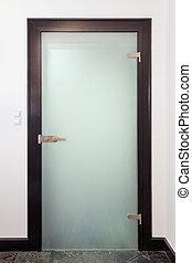 vidrio, moderno, puerta, cerrado