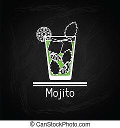 vidrio, mojito, cover., ilustración, menú