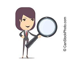vidrio, mujer, aumentar, empresa / negocio