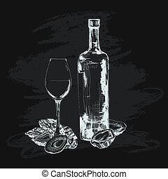 vidrio, ostra, vino
