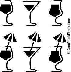 vidrio, parasol, vector, silueta, cóctel