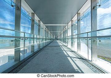 vidrio, pasillo, oficina, centro