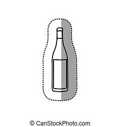 vidrio, pegatina, negro, contorno, botella