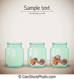 vidrio, plano de fondo, tarros, dinero