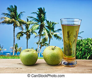 vidrio, playa, tabla, zumo de manzana
