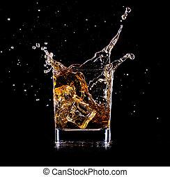 vidrio, primer plano, whisky