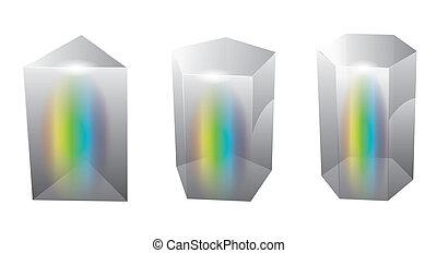 vidrio, prisma, vector