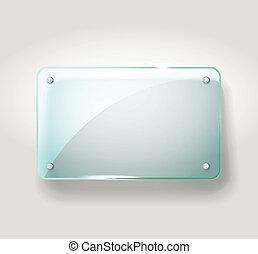 vidrio, publicidad, board., plantilla, para, un, texto