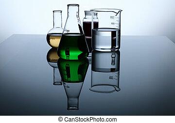 vidrio, química, tubos