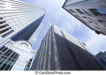vidrio, rascacielos, centro