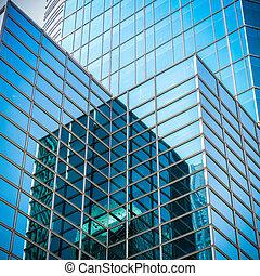 vidrio, rascacielos, con, resumen, textura