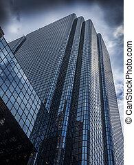vidrio, rascacielos, edificio