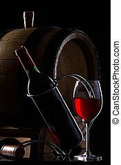 vidrio, rojo, botella, vino