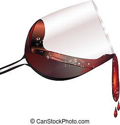 vidrio, rojo, se derramar, vino