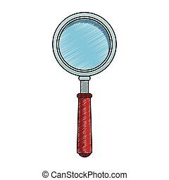 vidrio, símbolo, garabato, aumentar