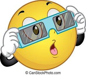 vidrio, sol, eclipse, smiley