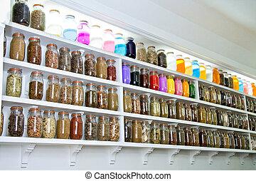 vidrio, tarros, especias, hierbas