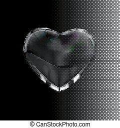 vidrio, transparente, heart.