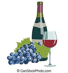 vidrio, uvas, botella, vino