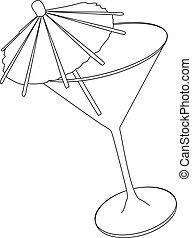 vidrio, vector, ilustración, cóctel