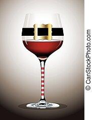 vidrio, vector, santa, bel, vino