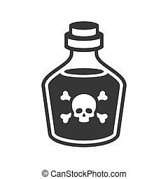 vidrio, veneno, fondo., vector, botella, blanco, icono